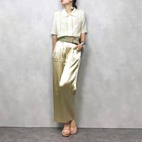 CreamYellow Flower embroidery shirt-340