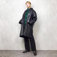 Leaf pattern black rétro coat-813-1