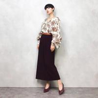 Burgundy rose long skirt-587-10