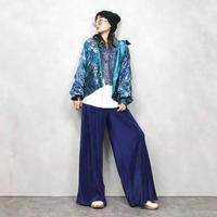 Flower pattern reversible nylon jacket-513-8