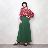 Red pattern stretch tops-518-8