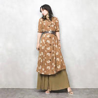AGEN wooden button brown dress-396-7
