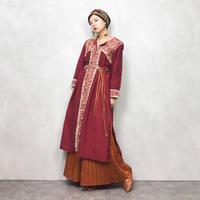 Asian import vintage red dress & scarf set-501-8
