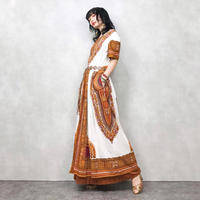 Exotic leaf long dress