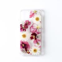 押し花ケース iPhone11 pro ビオラ-ピンク