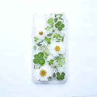 押し花ケース iPhone11/XR ノースポール×グリーン