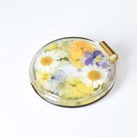 押し花コンパクトミラー ビオラ-黄色
