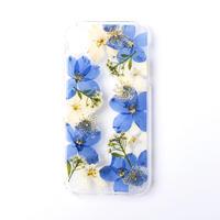 押し花ケース iPhoneXR デルフィニウム