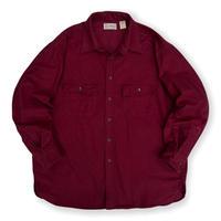 Made in USA / 80's L.L.Bean / Chamois Cloth Shirt / Burgundy 17 1/2(XL) / Used