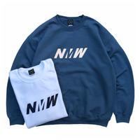 NERDY MOUNTAIN WORKS / NMW CREW SWEAT / White . Indigo