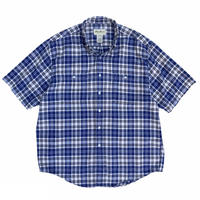 90s Eddie Bauer / 2Pocket Cotton Check S/S B.D. Shirt / Blue Check / Used