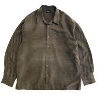 Haggar / Open Collar Check Shirt / Khaki / Used