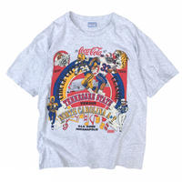 Made in USA / 90's Coca Cola / 97's Collage Foot Ball  Tee / Ash / Used