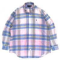 Ralph Lauren / Cotton B.D. Check Shirt  / Lt Pink × Lt Blue / Used