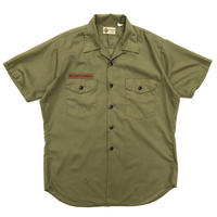 Made in USA / 70s BOYSCOUTS S/S Open Collar Shirt / Khaki / Used