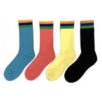 Bedlam / Flag Socks / Flamingo , Light Blue,Black,Lt.Yellow