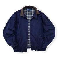 90's Polo Ralph Lauren / Corduroy Collar Check Lined Drizzler Jacket  / Navy / Used