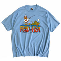 Made in USA / 90's FEED THE FISH Tee / Lt.Blue / Used