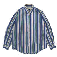 90's L.L.Bean / L/S B.D. Striped Shirt /  Blue  / Used