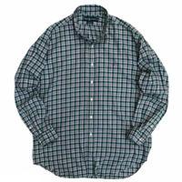 "90's Raph Lauren / Cotton Checked B.D Shirt ""BLAKE"" / Green × Purple / Used"