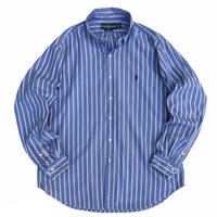 """90's Raph Lauren / Cotton Striped B.D Shirt """"Classic Fit"""" / Blue / Used"""