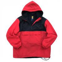Made in USA / 90s J.CREW SPORT / Nylon Fleece Anorak / Black × Red / Used
