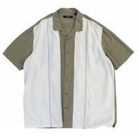 Bi-Color Open Collar Shirt / Khaki × White  / Used