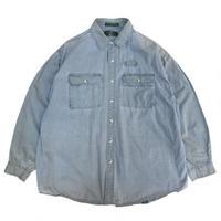 90s ORVIS / Cotton Fishing Shirt / Blue Grey / Used
