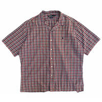"""POLO by Ralph Lauren / 80's Multi Checked Open Collar Shirt """"CALDWELL"""" / Used"""