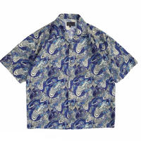 Dragon  Patterned Open Collar Shirt / Blue × Grey / Used
