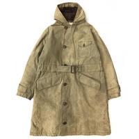 40's US Navy / Vintage Alpaca Wool Liner Rain Coat / Khaki / Used