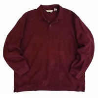 90's Eddie Bauer  / Solid L/S Polo Shirt / Burgundy / Used