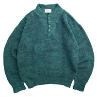 Made in USA / 80s L.L.Bean / Henley Neck Pullover Knit / Green / Used