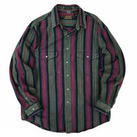 Made in USA / 80's Eddie Bauer / Multi Striped Shirt / Used