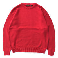 Made in USA / 80s Eddie Bauer / Cotton Pullover Knit Sweater / Red / Used