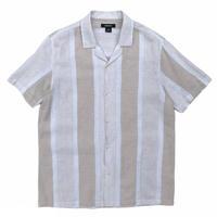 Linen blend Striped Open Collar Shirt / Beige / Used
