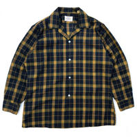 Made in USA / 60-70s Open Collar Shirt / Navy × Yellow Check / Used