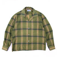 Vintage  L/S Open Collar Shirt / Green Tea / Used