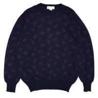 Paisley Crew Neck Knit  / Navy / Used