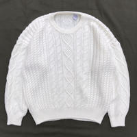Unknown / Pullover Fisherman Knit Sweater / White / Used