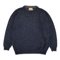 80's Woolrich  / Wool Round Neck Knit  / Navy / Used