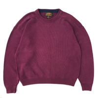 80s Eddie Bauer / Pullover Cotton Cable Knit Sweater / Burgundy / Used
