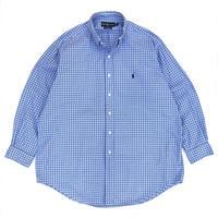 """Ralph Lauren / Cotton B.D. Check Shirt """"CLASSIC FIT"""" / Lt Blue × Blue / Used"""