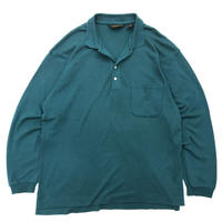 80's Eddie Bauer  / Solid L/S Polo Shirt / Green / Used