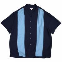 Bi Color Open Collar Shirt / Navy × Lt.Blue / Used