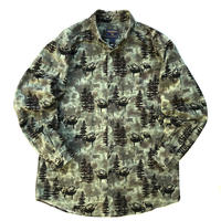 00s Woolrich / Animal Patterned Chamois Shirt / Multi / Used