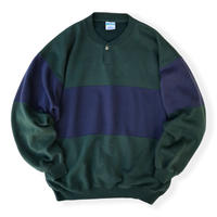 BI-Color Henley Neck Sweat / Forest × Navy XL / Used