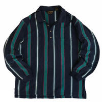 80's Eddie Bauer  / Cotton Multi Striped L/S Polo Shirt  / Navy×Green /  Used