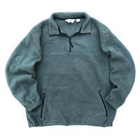 90s Eddie Bauer / Half Zip Fleece Pullover / Moss Green / Used