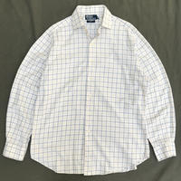 Polo Ralph Lauren / Cotton Check Dress Shirt / Ivory ×Yellow / Used